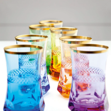 Set of 6 assorted colored & gold tea glasses